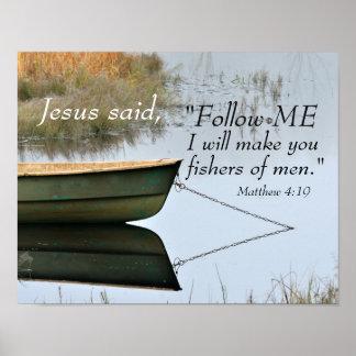 Fisher d'écriture sainte des hommes, vers de bible poster