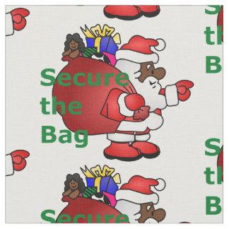fixez le tissu de père Noël de noir de sac