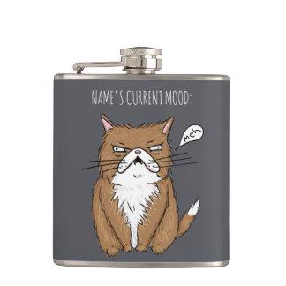 Flacon drôle de gris de chat de Meh d'humeur