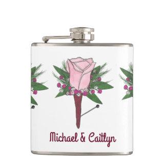 Flacon personnalisé de mariage de rose de rose de