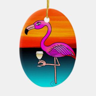 Flamant de consommation de vin rose customisé ornement ovale en céramique