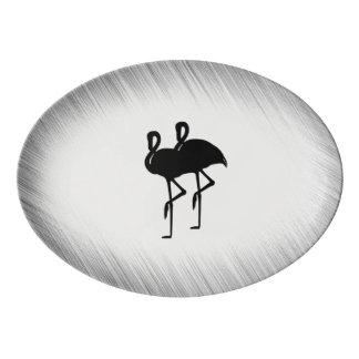 Flamant noir et blanc plateau de service en porcelaine