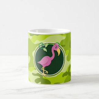 Flamant rose camo vert clair camouflage tasses à café