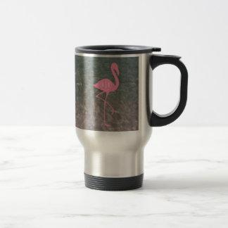 Flamant rose de monogramme + L'eau d'océan Mug De Voyage
