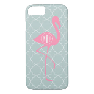 Flamant rose de monogramme + Quatrefoil Coque iPhone 7