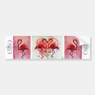 Flamant rose/Heart (accélérateur de prise like) - Autocollant De Voiture
