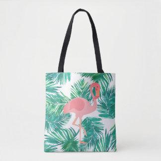 flamant rose sur le feuille vert tropical sac