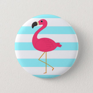 Flamant rose sur les rayures turquoises légères badges