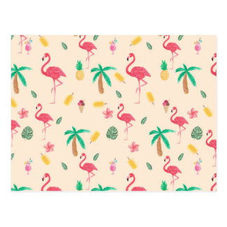 Flamant tropical d'aquarelle rose à la mode floral carte postale