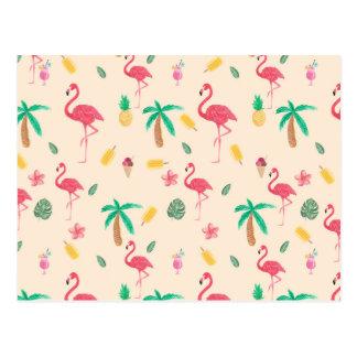 Flamant tropical d'aquarelle rose à la mode floral cartes postales