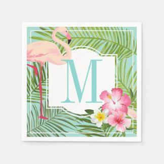 Flamant tropical des serviettes | de monogramme serviettes jetables