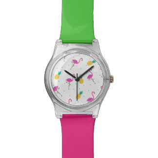 Flamants au néon 2 montres bracelet