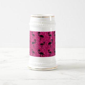 Flamants au néon de scintillement de roses indien chope à bière