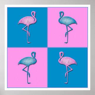 Flamants bleus et roses poster