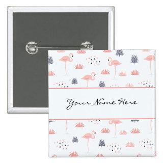 Flamants élégants de rose en pastel badge