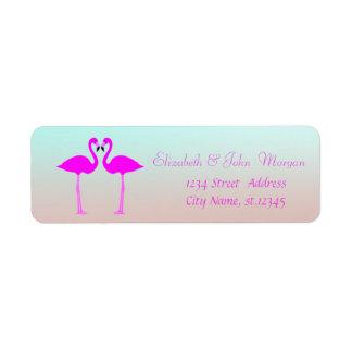 Flamants élégants et roses Girly modernes dans Étiquettes D'adresse Retour