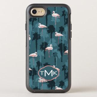 Flamants en pastel sur le monogramme de Teal | Coque Otterbox Symmetry Pour iPhone 7