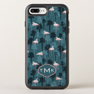 Flamants en pastel sur le monogramme de Teal | Coque Otterbox Symmetry Pour iPhone 7 Plus