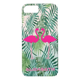 Flamants roses adorables, palmettes tropicales coque iPhone 7