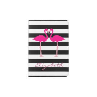 Flamants roses, blanc noir barré - personnalisé protège-passeport