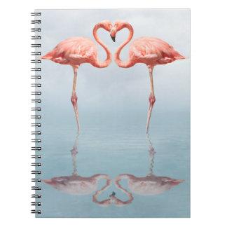 Flamants roses dans le carnet d'amour