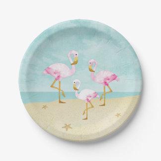 Flamants roses d'aquarelle sur la plage assiettes en papier