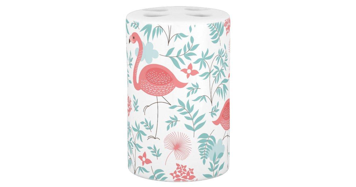 flamants roses et motif de fleurs tropical rose accessoire de salle de bains zazzle - Accessoire De Salle De Bain Rose