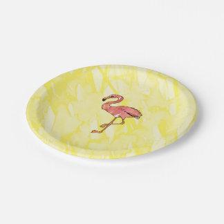 Flamants roses mignons d'aquarelle sur le jaune assiettes en papier