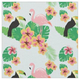 Flamants roses, toucans, tissu tropical de fleurs