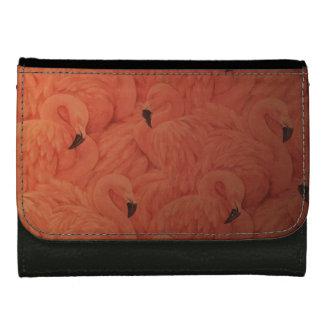 Flamants roses tropicaux, portefeuille en cuir