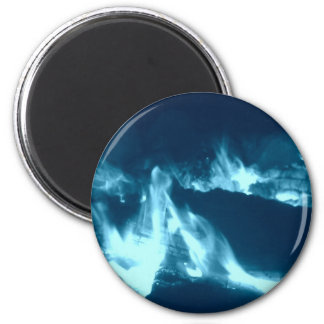 Flamme bleue 2 magnet rond 8 cm