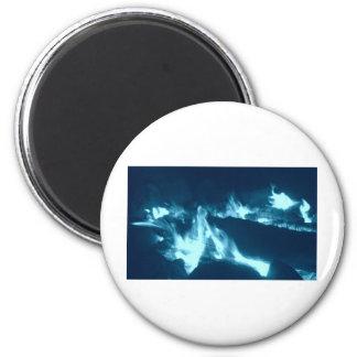 Flamme bleue magnet rond 8 cm