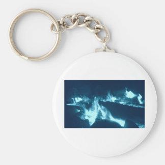 Flamme bleue porte-clé rond