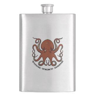 Flasque Bande dessinée rouge féroce de tentacules de
