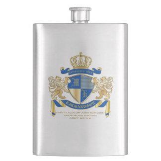 Flasque Créez votre propre manteau d'emblème bleu de lion