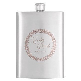 Flasque Demoiselle d'honneur rose de mariage de cadre de