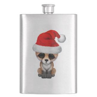 Flasque Fox de bébé utilisant un casquette de Père Noël