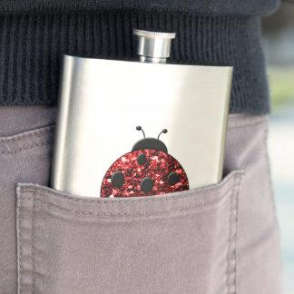 Flasque Le beau rouge de scintillement miroite coccinelle