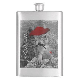 Flasque Peintre français dans l'écureuil rouge de béret