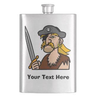 Flasque Pirate coloré de bande dessinée avec votre texte