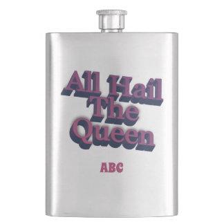 Flasque Tous grêlent la reine 3D avec vos initiales