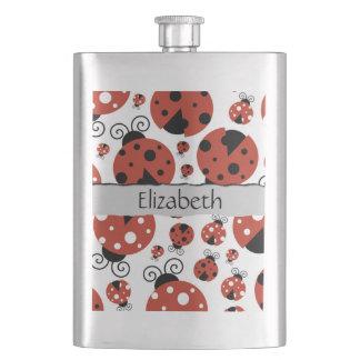 Flasque Votre nom - coccinelles, coccinelles - noir rouge