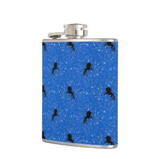 Flasques aqua de motif de licorne