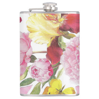 Flasques Bouquet rose et jaune floral d'iris de papillon