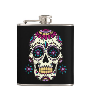 Flasques Cantine Mêlée dans Vinyle Crâne Color Flores
