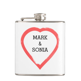 Flasques Coeur minimaliste de mariage d'aquarelle