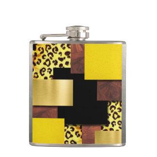 Flasques Collage d'empreinte de léopard et en bois