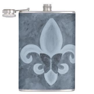 Flasques Denim têtu Blue Fleur de Lis Butterfly de la barre