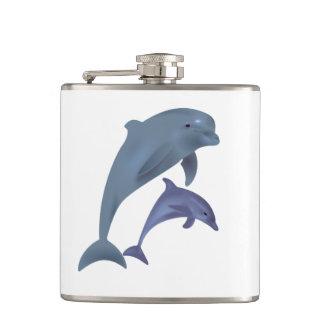Flasques Deux dauphins tropicaux sautant près de l'un