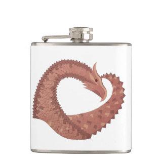 Flasques Dragon de coeur de Brown sur le blanc